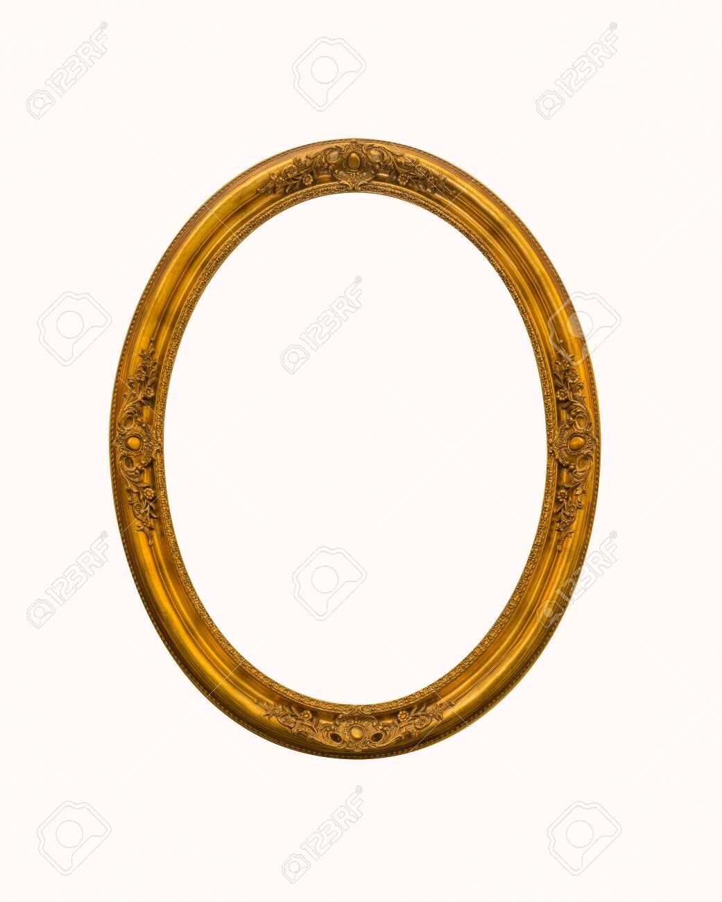 vintage gold oval frames or photo frame elegant isolated on white background. - 152343471
