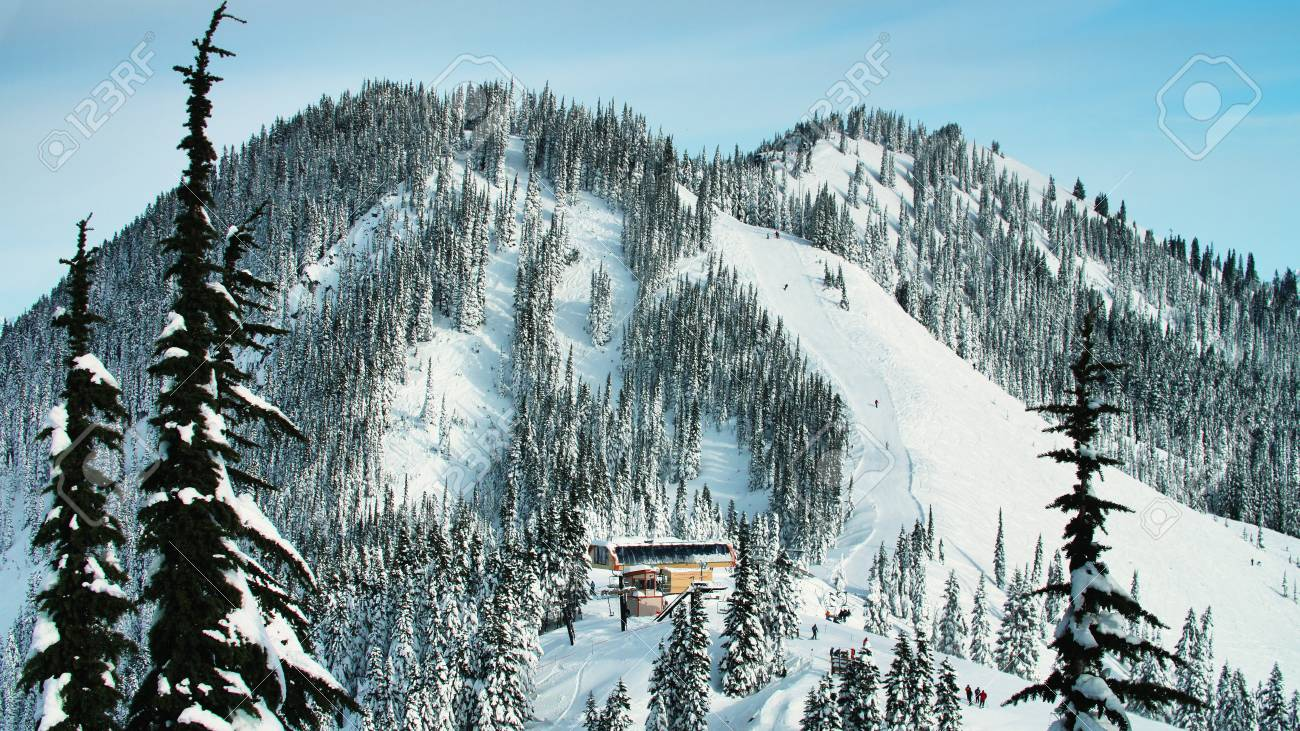 stevens pass, washington/usa - december 23, 2017: ski resort.. stock