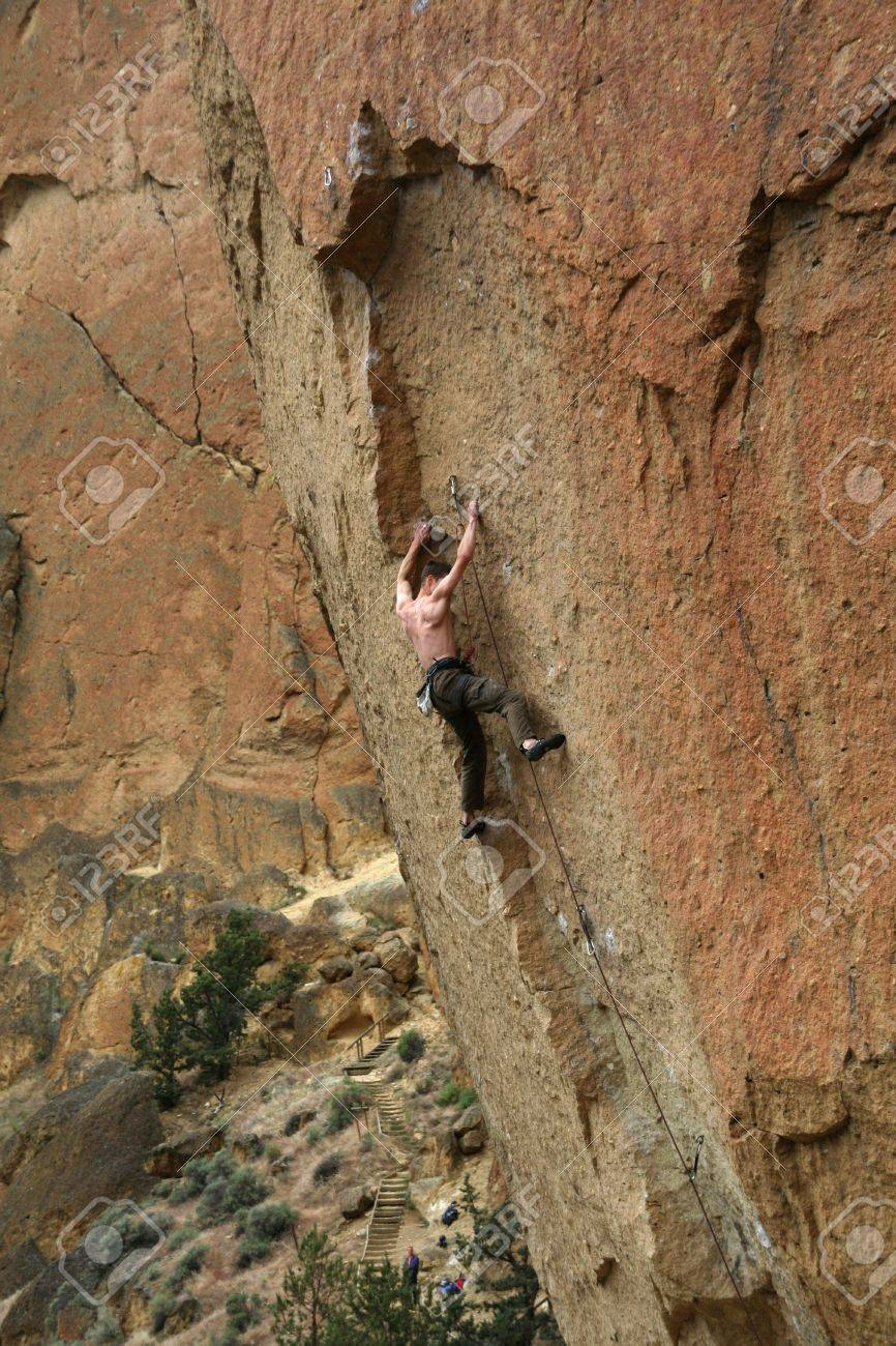 Climber on overhanging cliff route,Smith Rock State Park, Central Oregon Stock Photo - 2150409