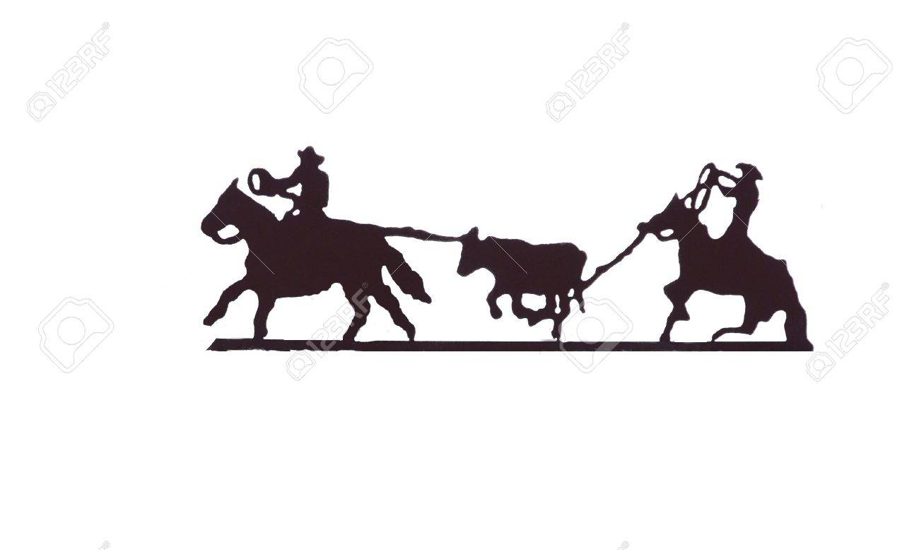 buckaroos cowboys with lariats roping cattle from their horses