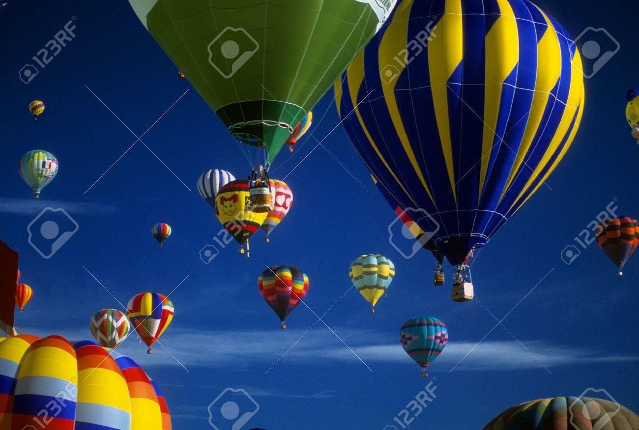 Hot air balloons agaisnt blue sky, International Balloon Festival, Albuquerque, New Mexico - 3128474