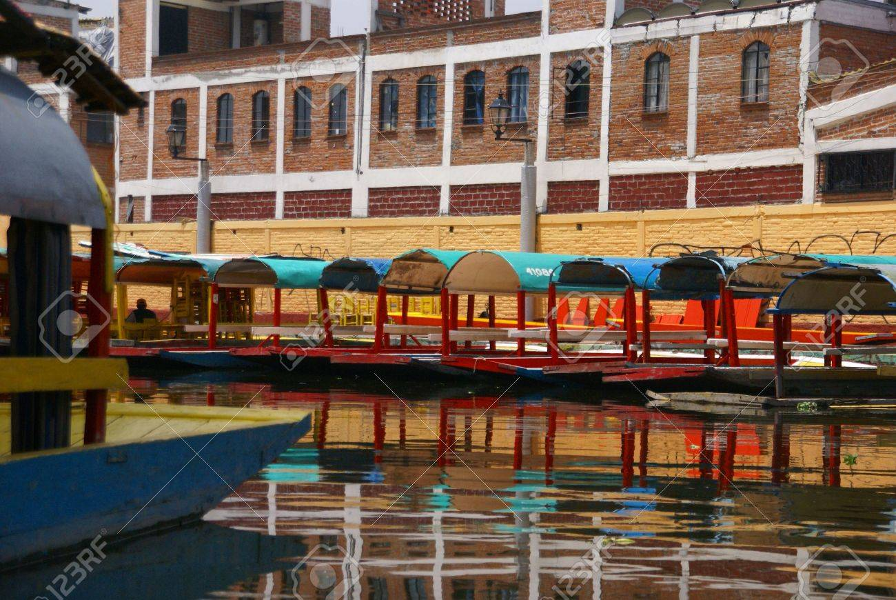 Reflections Of Moored Colored Boats, Xochimilco Canals, Floating ...