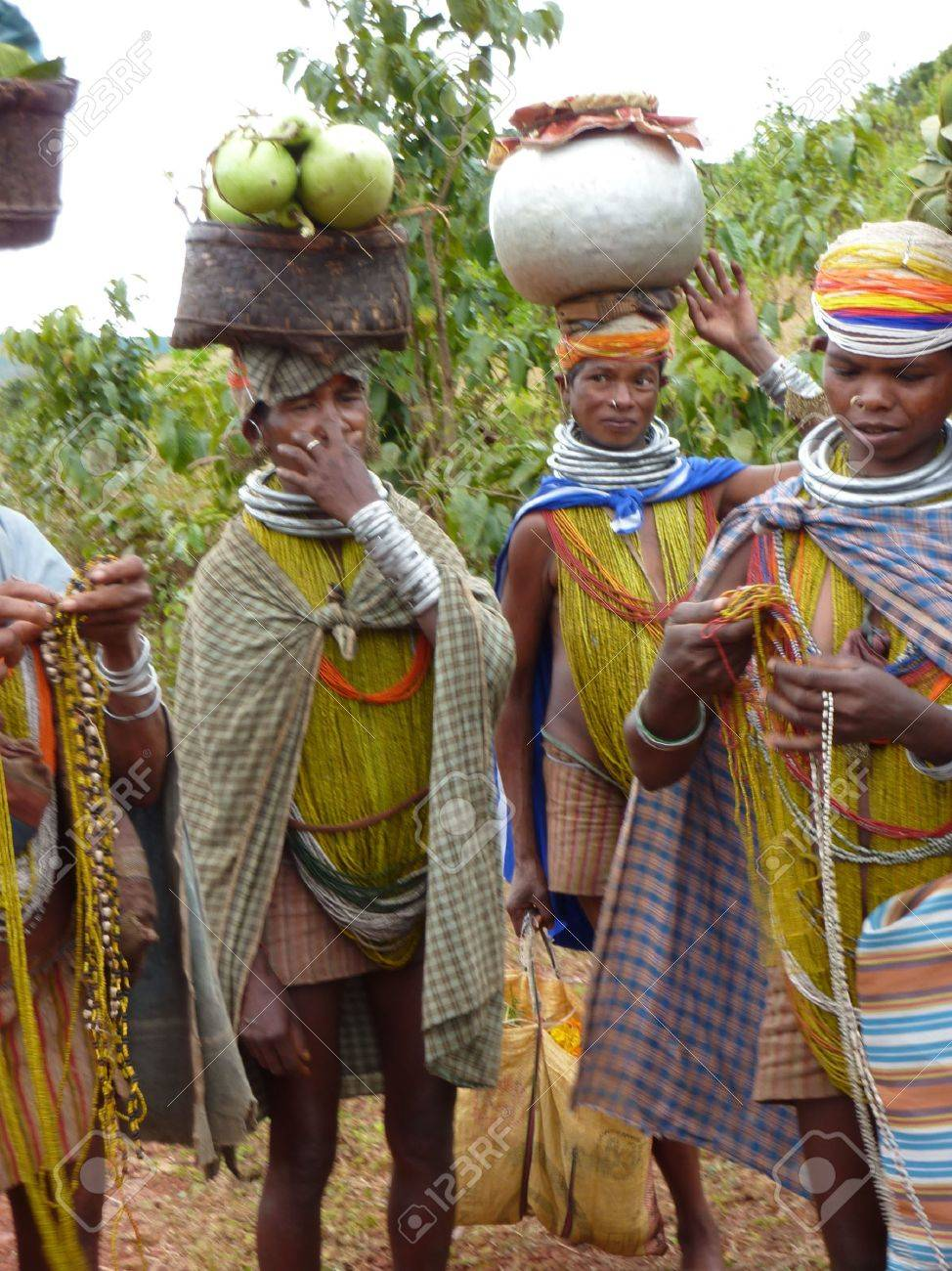 ORISSA, INDIA - Nov 12 - Bonda Tribal Women Pose For Portraits ...