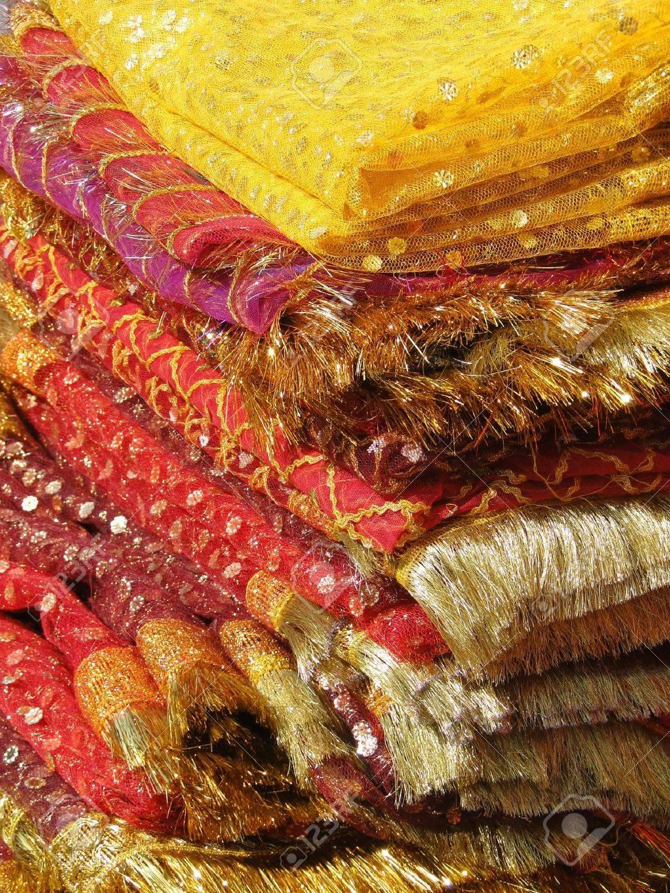 Fine silk brocade saree fabric in Lad Bazaar in Charminar, Hyderabad, Andhra Pradesh, India, Asia - 7115885