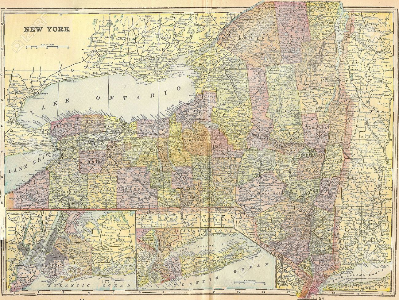 Vintage 1896 Map Of New York State Stock Photo, Picture And Royalty ...