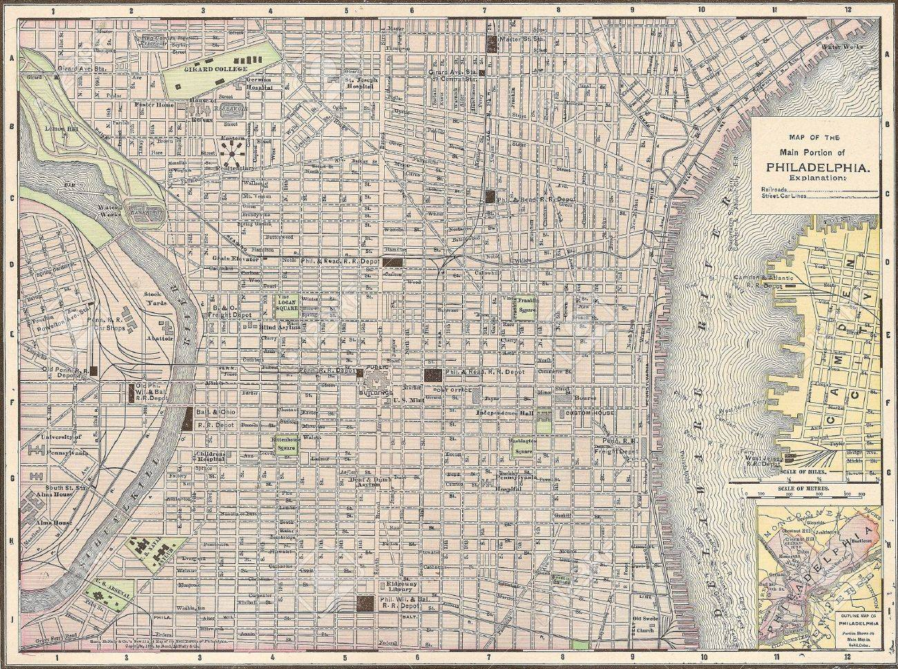 Vintage Philadelphia Map Vintage 1891 Map Of The City Of Philadelphia, Pennsylvania; Out