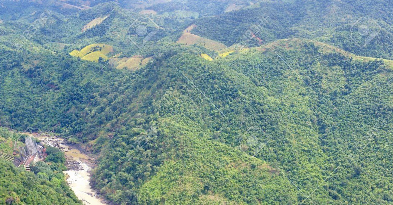 Muddy River Meanders Through Jungle Hills, Of Orissa, India Stock ...