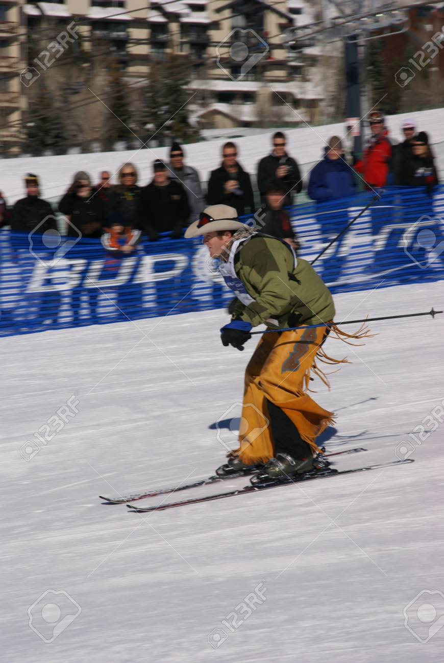 STEAMBOAT SPRINGS COLORADO 20 JAN 2009 -  Cowboy in chaps and stetson skiing the slalom course, Cowboy Downhill, Steamboat Springs Colorado, Rocky Mountains Stock Photo - 9638451