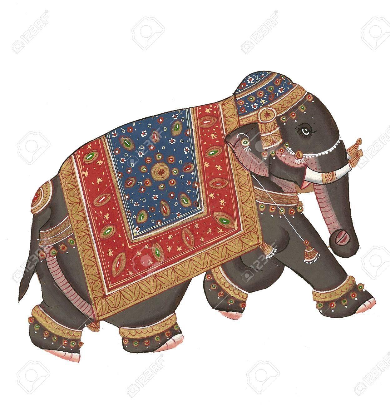 Caparisoned elephants on parade.Indian miniature painting on 19th century paper. Udaipur, India - 9747631