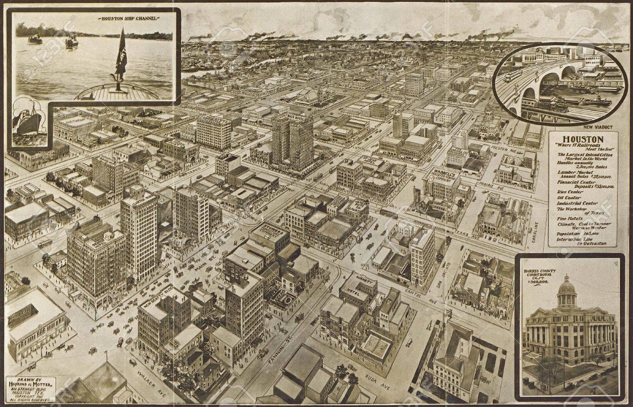 c 1910 - Houston--a modern city  from vintage atlasHopkins &