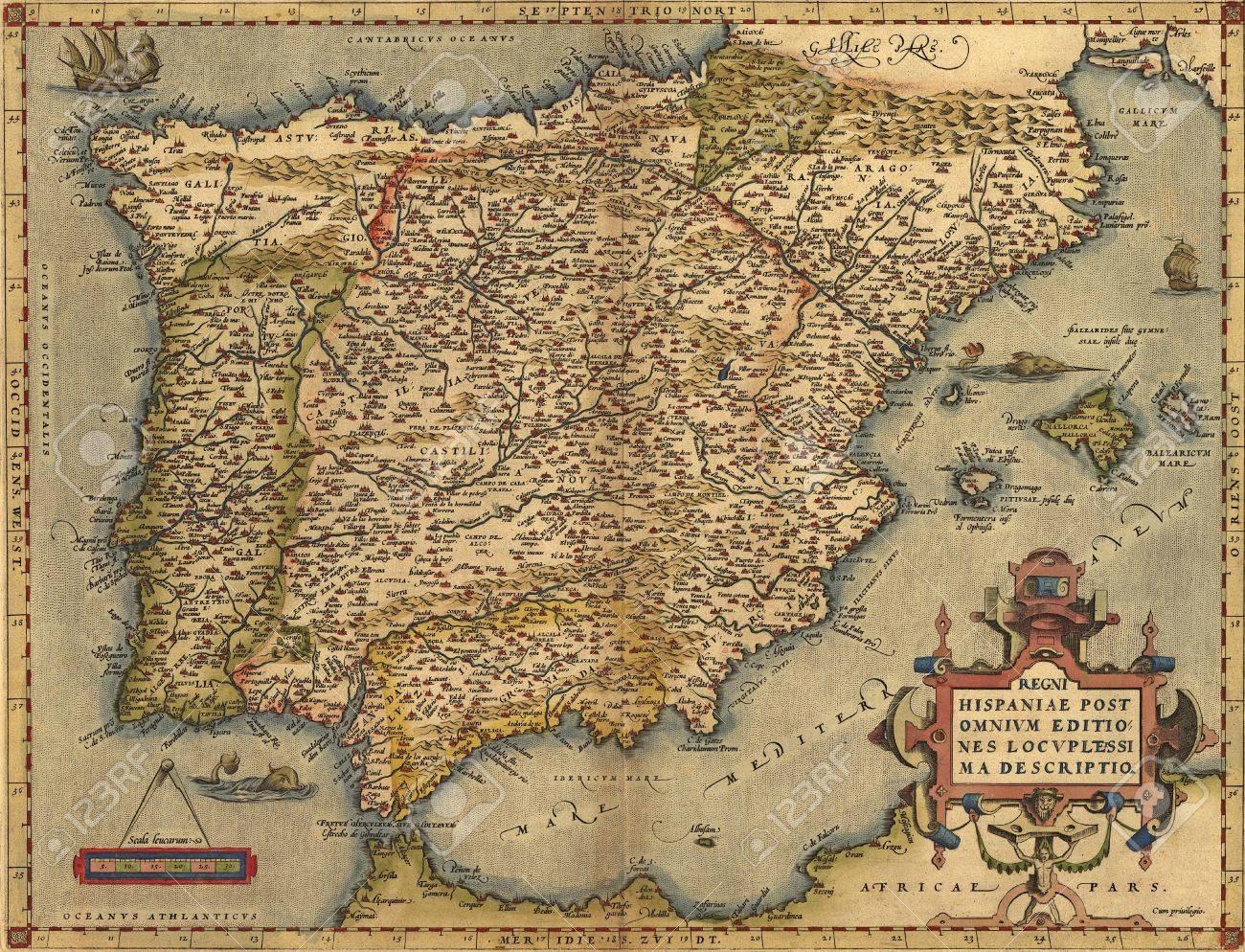 Mapa De España Antiguo.Antiguo Mapa De Espana