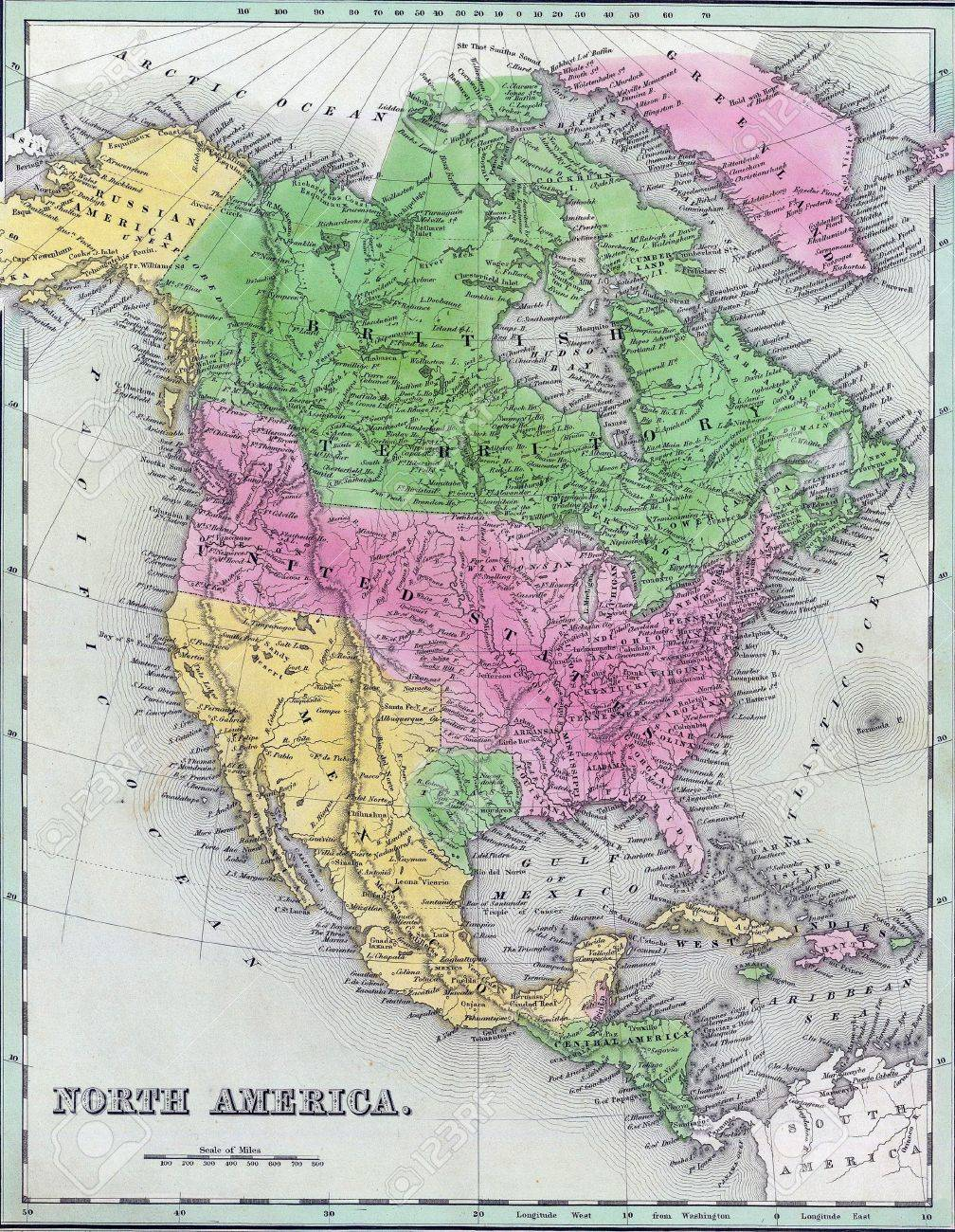 Antique Map Of North America.Antique Map Of North America From The Out Of Print 1841 Goodrich