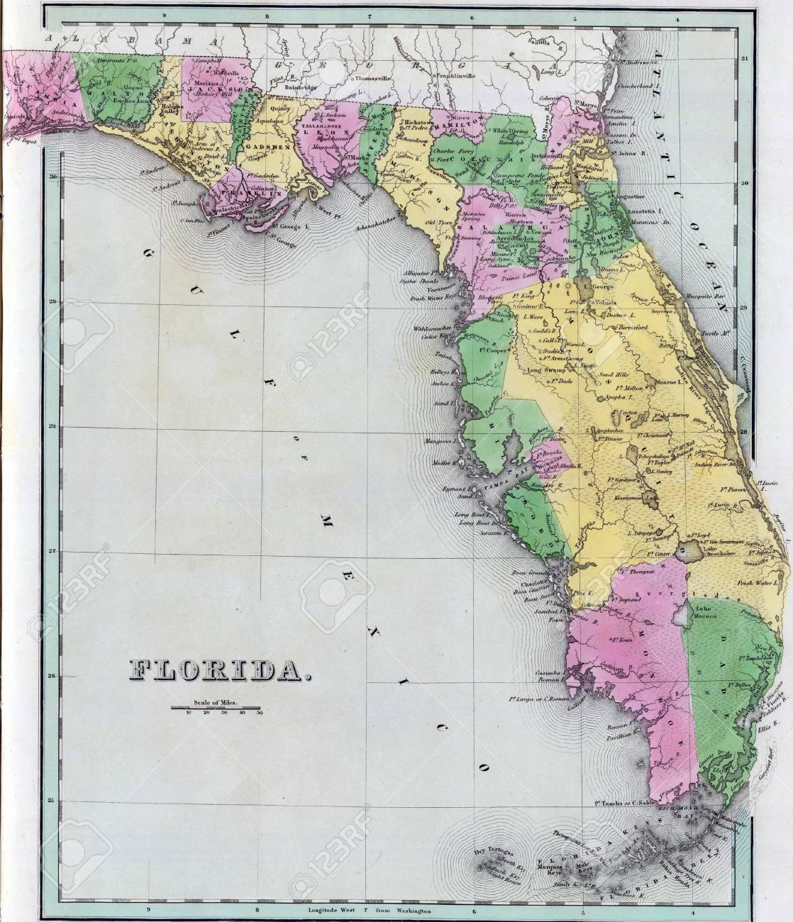 Antique Map Of Florida.Antique Map Of Florida From The Out Of Print 1841 Goodrich Atlas