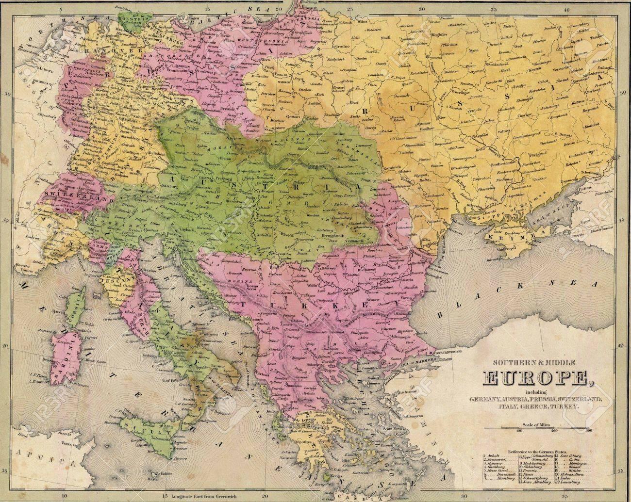 Carte Antique De Lest De Leurope De Latlas épuisée 1841 Goodrich