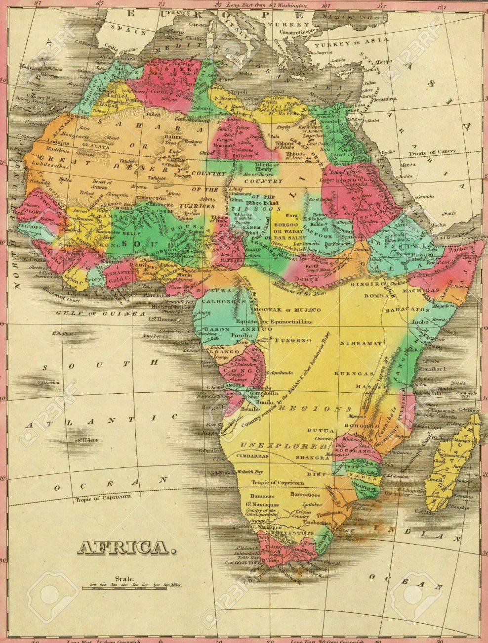 Antique Map Of Africa From Atlas By Anthony Finley 1831 Stock Photo