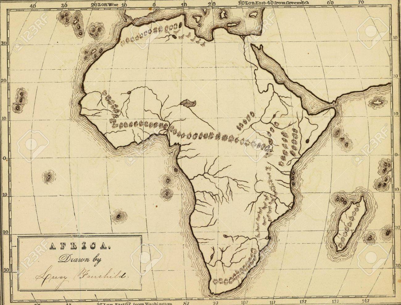 Map Of Africa 1850.Antique Map Of Africa From Atlas By Fitch Fairchild 1850 Stock