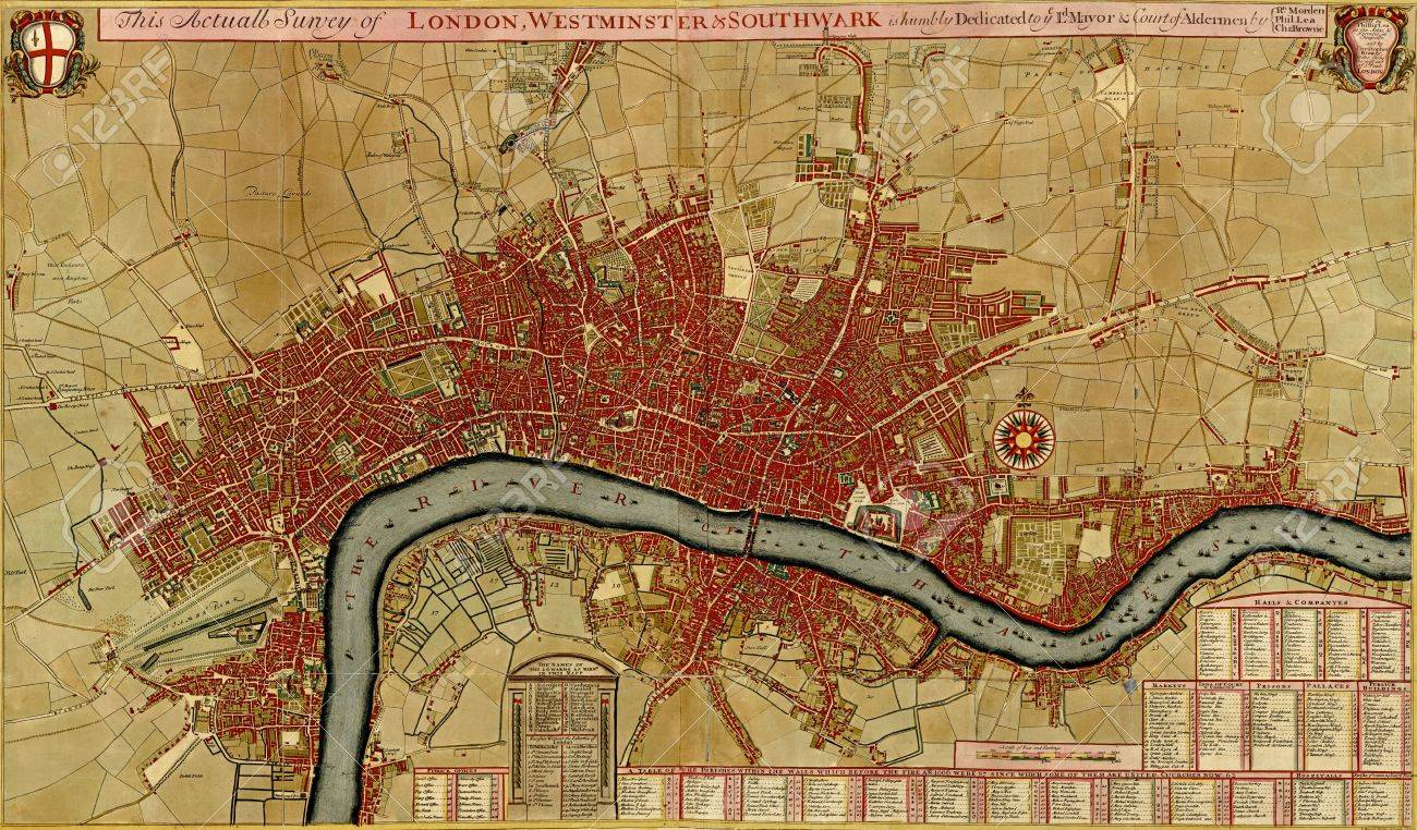 Antique Map Of London Southwark Asnd Westminster Atlas Of - Westminster map