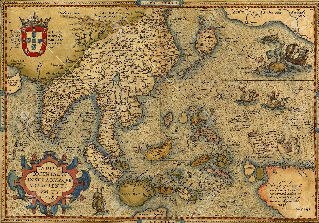 Antique Map of China and Southeast Asia, by Abraham Ortelius, circa 1570 - 11044882