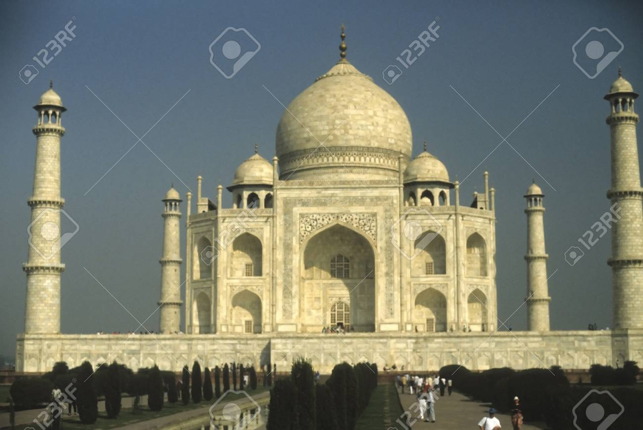 Taj Mahal Glowing At Dawn, Agra, India Stock Photo, Picture And ...