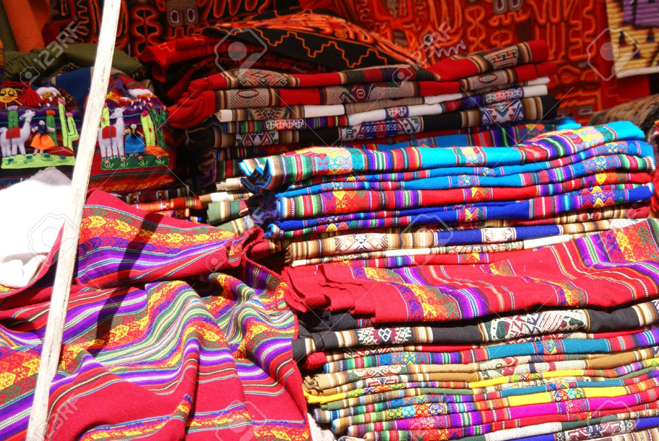 Colorful Handmade Blankets U0026 Tablecloths, Pisac Market, Cusco, Peru, South  America Stock