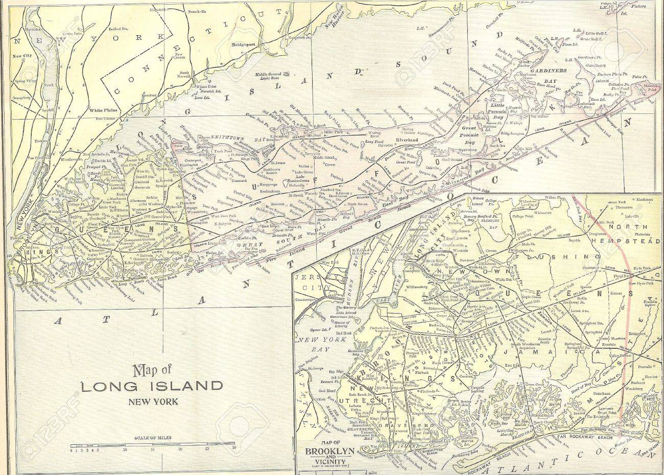 Vintage 1891 map of long island out of copyright from old atlas stock photo vintage 1891 map of long island out of copyright from old atlas of the world gumiabroncs Choice Image