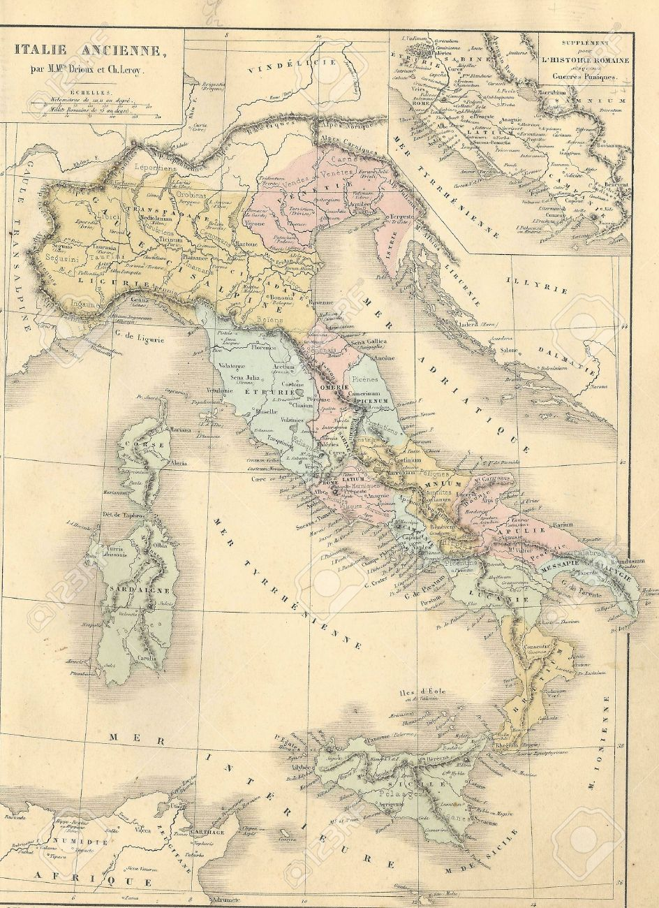 Antique Map Of Ancient Italy From1869 Atlas Universel Et Classique