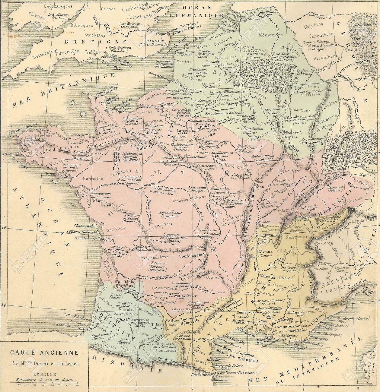 Mapa Antiguo De La Antigua Galia (Francia) From1869 - Atlas ...