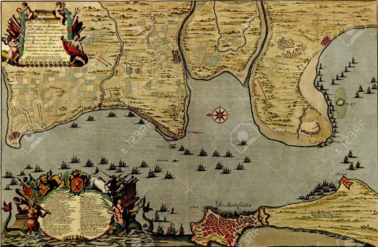 Antique Map Of The Battle Of Cadiz 1701 In Spain From The Stock
