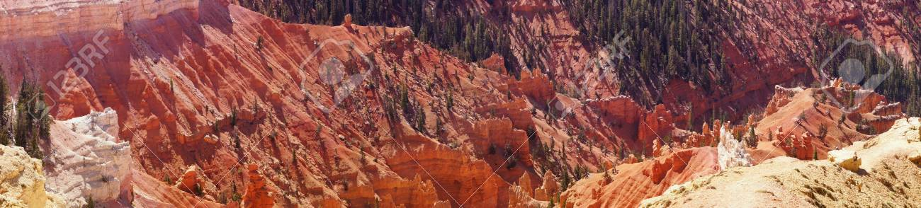 Panorama, fantasticly eroded red Navajo sandstone pinnacles and cliffs Cedar Breaks National Monument, Utah Stock Photo - 22648809