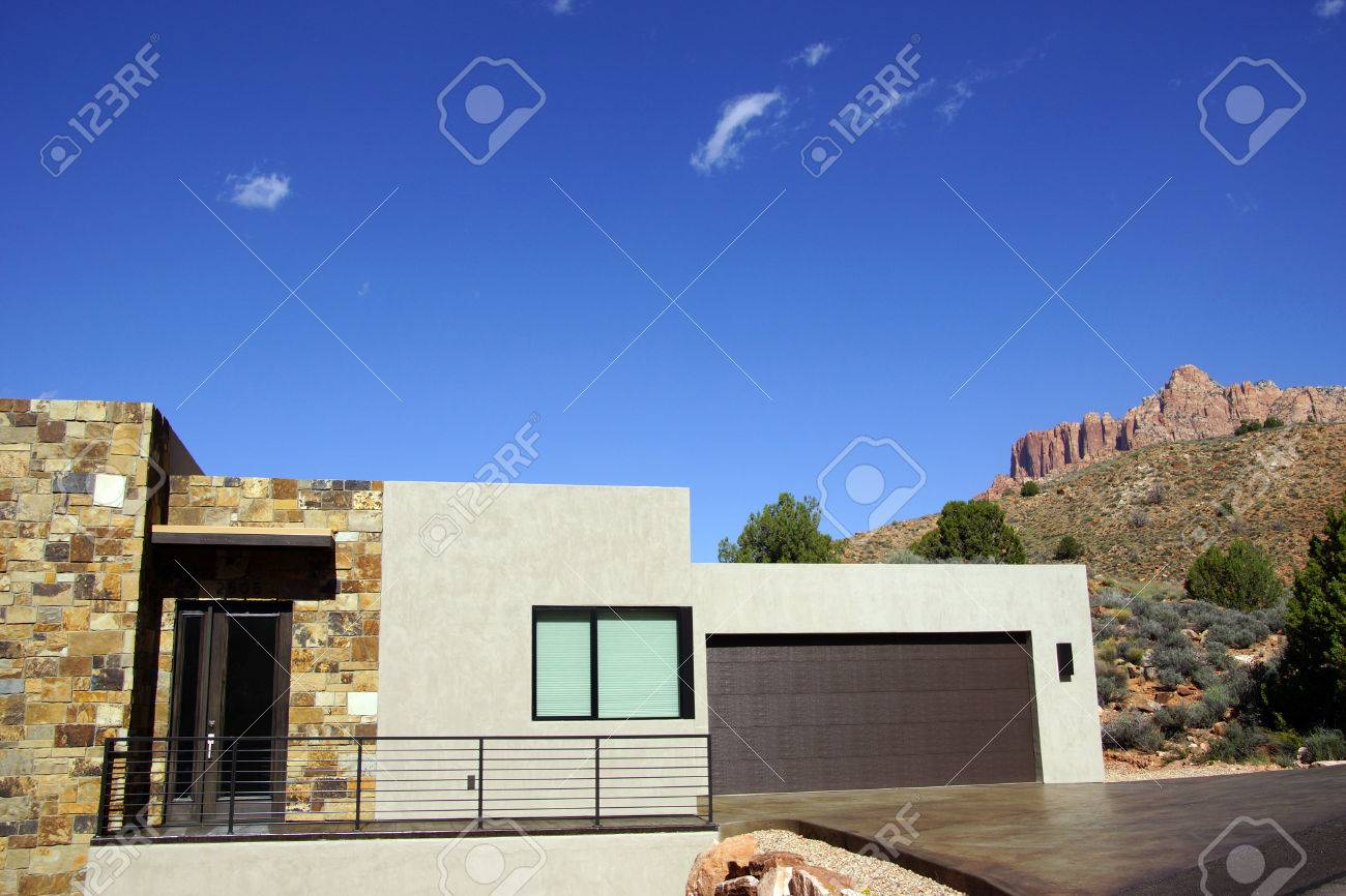 Modern house with mount kinesava near zion national park utah stock photo