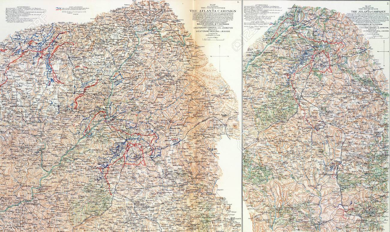 Map Of Georgia 1865.Maps Of Sherman S Campaigns Against Atlanta Georgia 1864 From