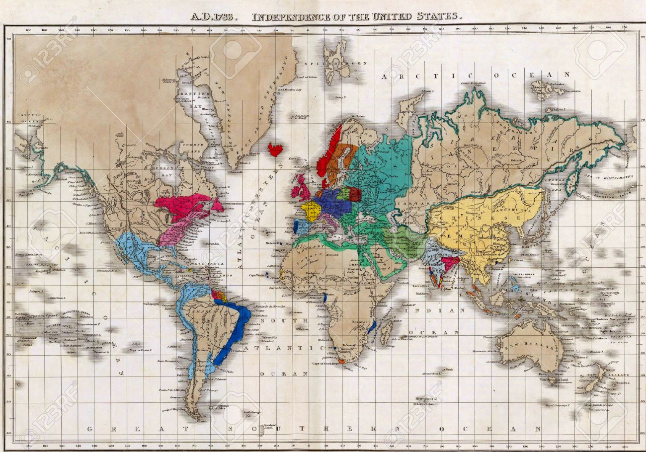 Map Of The World At Independence Of The United States In - Us map 1783