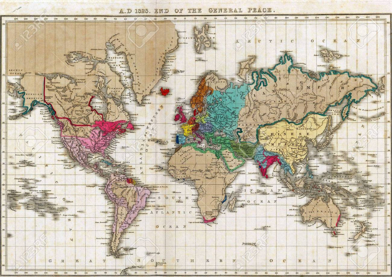 Map Of The World At Independence Of The United States In - Us in 1783 map