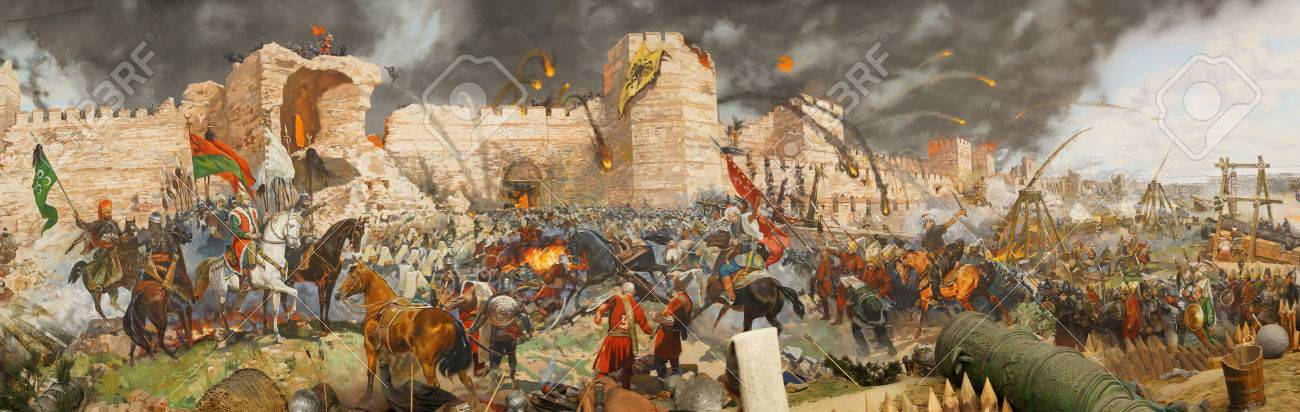 Final assault and the fall of Constantinople in 1453. Captured by Mehmet. Diorama in Askeri Museum, Istanbul, Turkey - 29326586