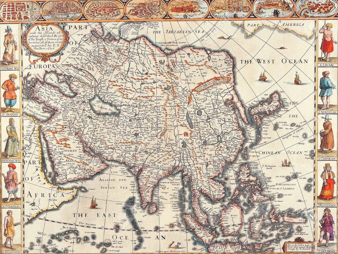 Global Map Of Asia.Antique Maps Of The Worldmap Of Asiajohn Speedc 1626
