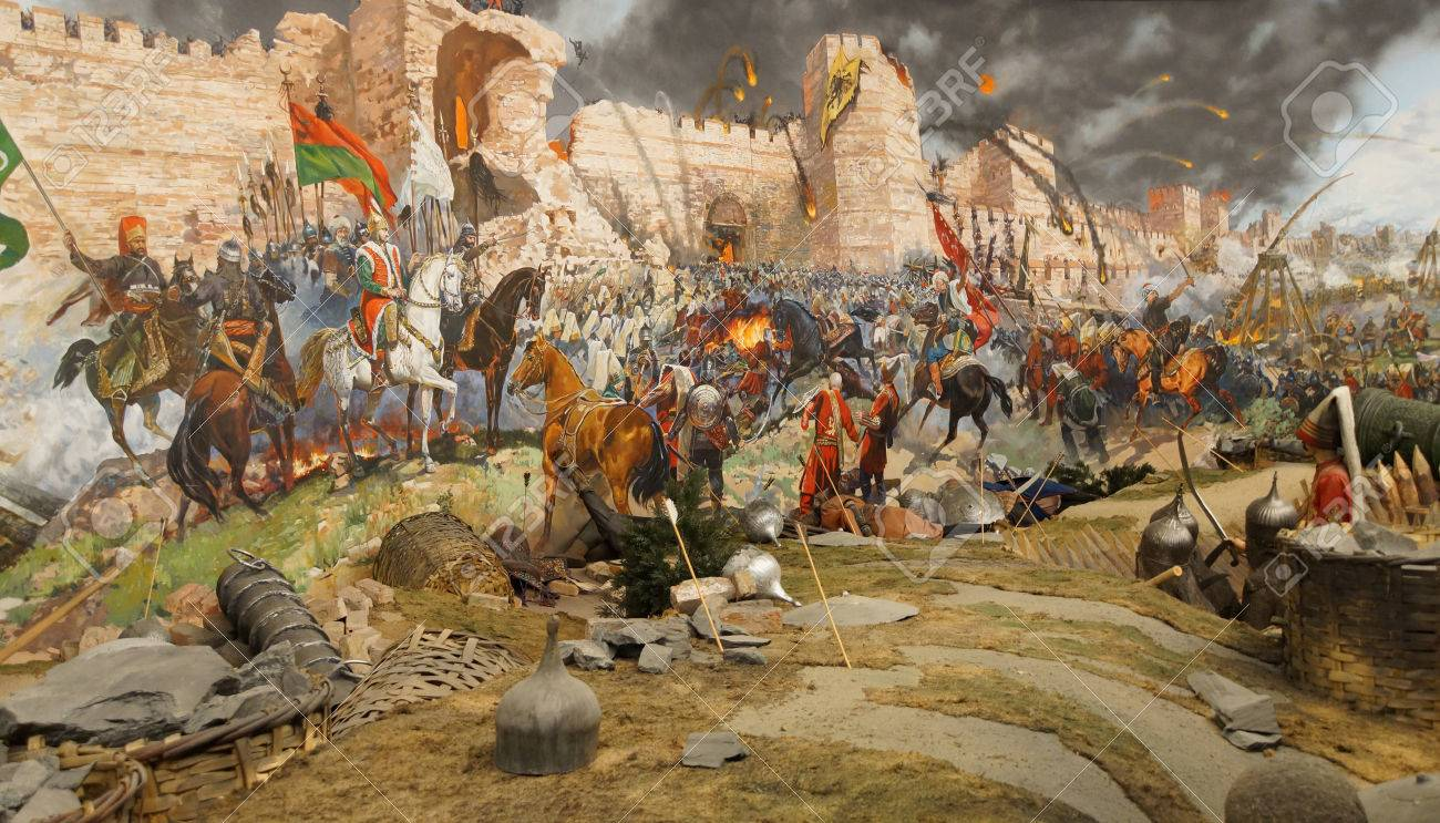 Final assault and the fall of Constantinople in 1453. Captured by Mehmet.  Diorama in