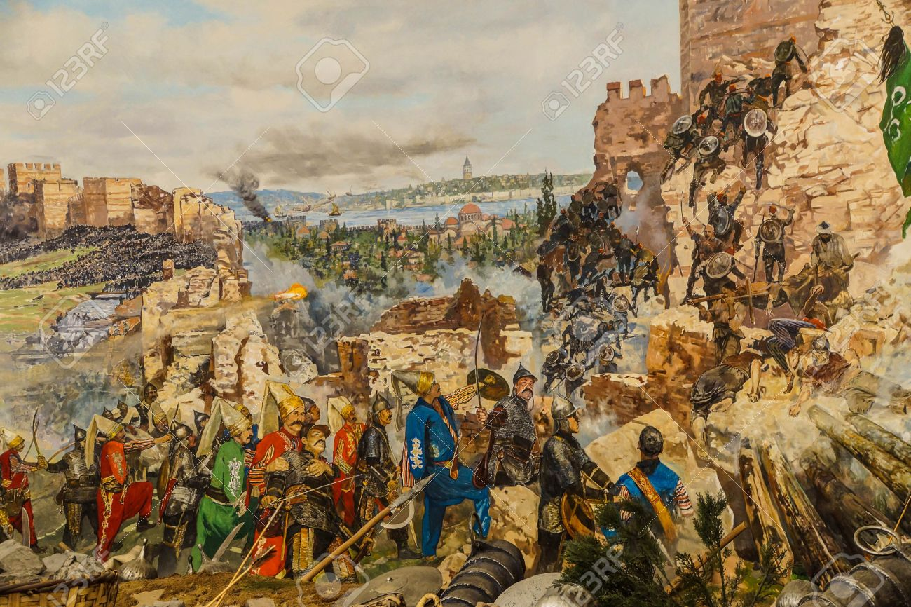 Details of the final assault and the fall of Constantinople in 1453. painting in Askeri Museum, Istanbul, Turkey - 29922705