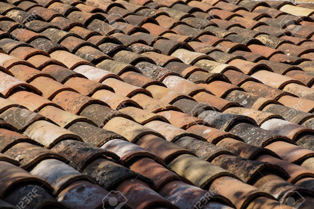 Terra cotta roof tiles on old building Sirince, Turkey