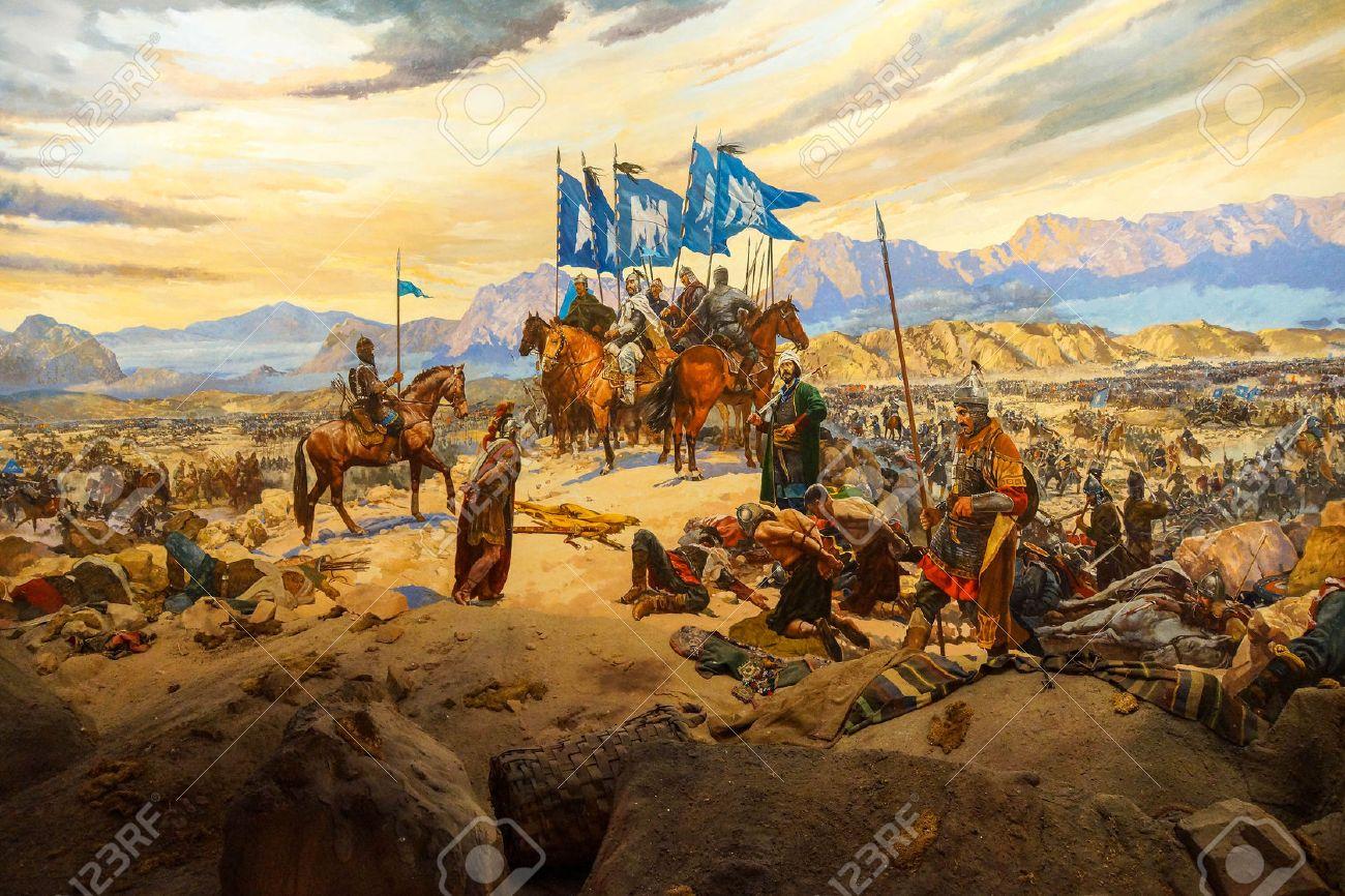 Battle of Manzikert, 1071 CE Askeri Military Museum in Istanbul, Turkey  Stock Photo -