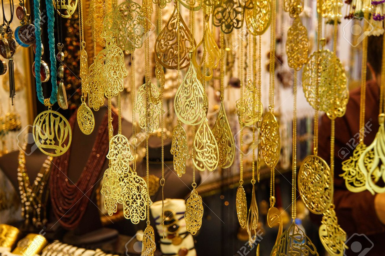 Gold And Sikver Jewelry On Display In The Grand Bazaar Kapali
