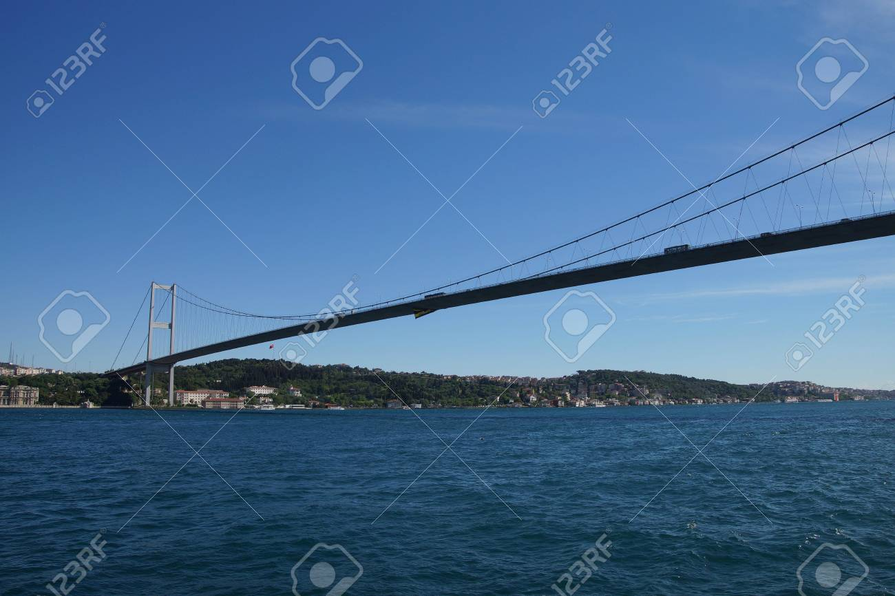Stock Photo - The Bosphorus bridge connects European and Asian parts of  Istanbul, Turkey