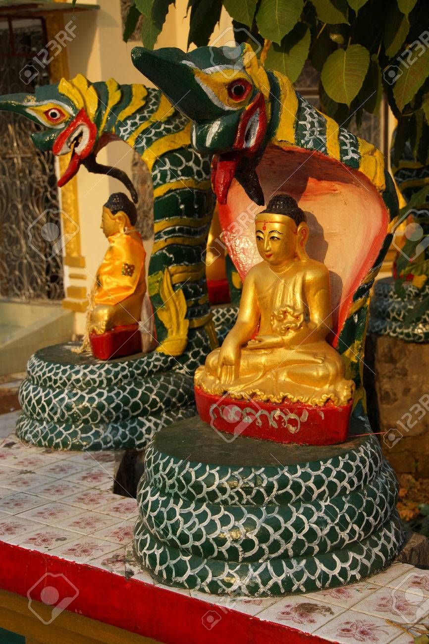 Buddha Protected By The Naga Cobra Serpent S Hood Botataung Stock Photo Picture And Royalty Free Image Image 38806315