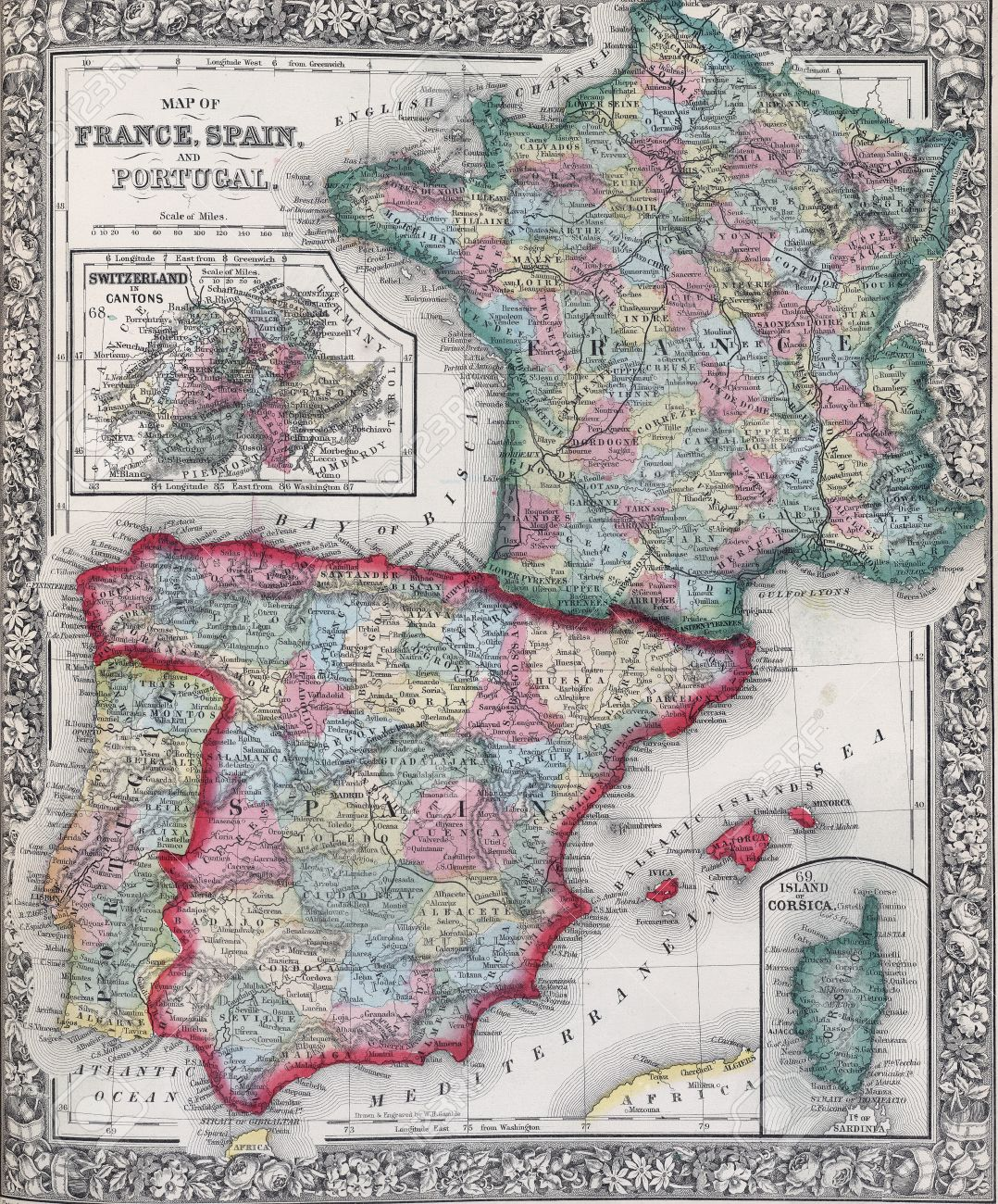 Map Of Spain And France And Portugal.Antique Map Of Spain France And Portugal From 19th Century Atlas