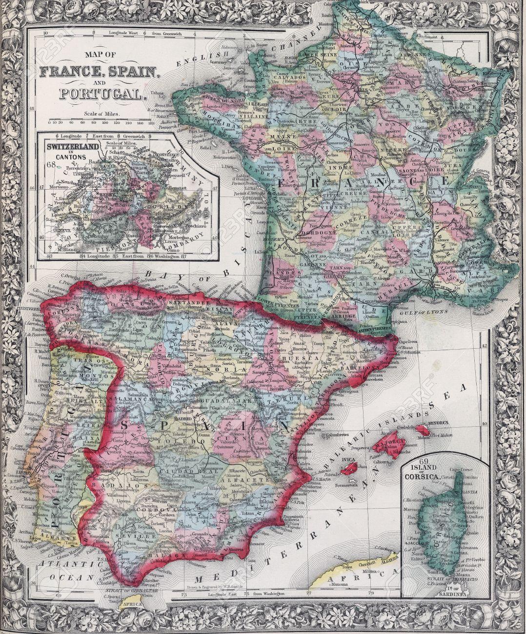 Carte Portugal Espagne France.Carte Antique De L Espagne La France Et Le Portugal De L Atlas Du 19eme Siecle De Modification De La Carte Distribue Sous Licence Creative Commons De