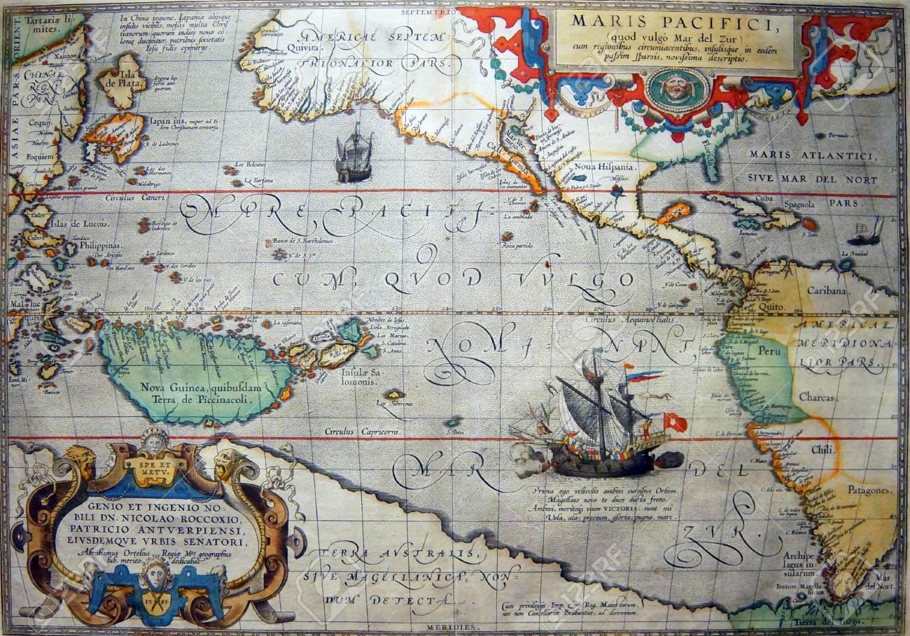 Astoria Oregon Oct 1 2015 Antique Map Of The Pacific Ocean