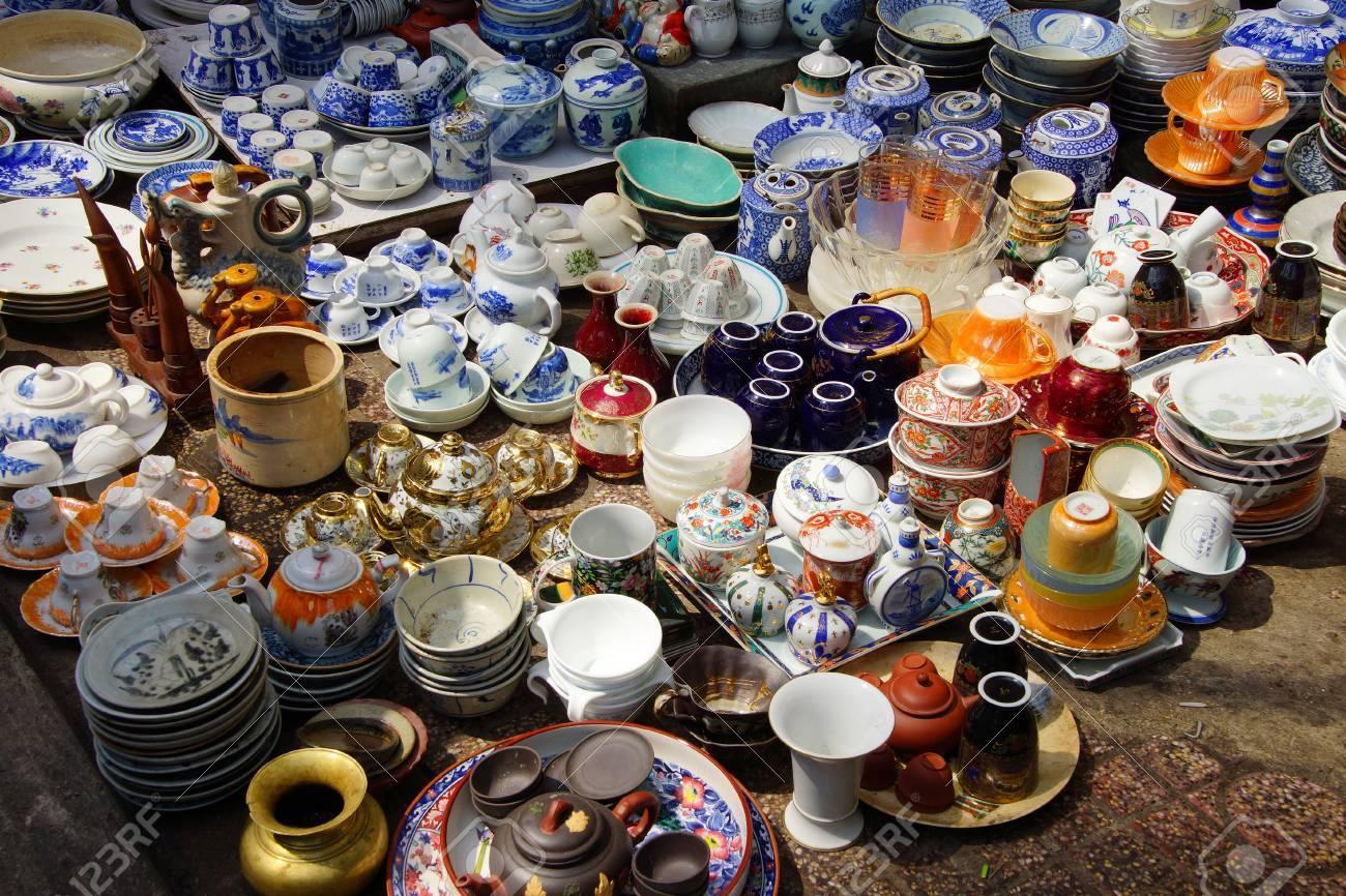 Vintage Porcelain For Sale At The Antiques Market In Saigon.. Stock ...