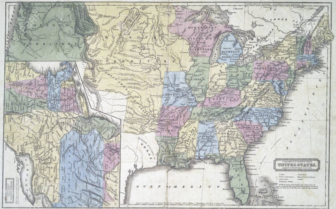 Map Of United States In Early 1800s Modified From The Map Released - Us-map-1800s