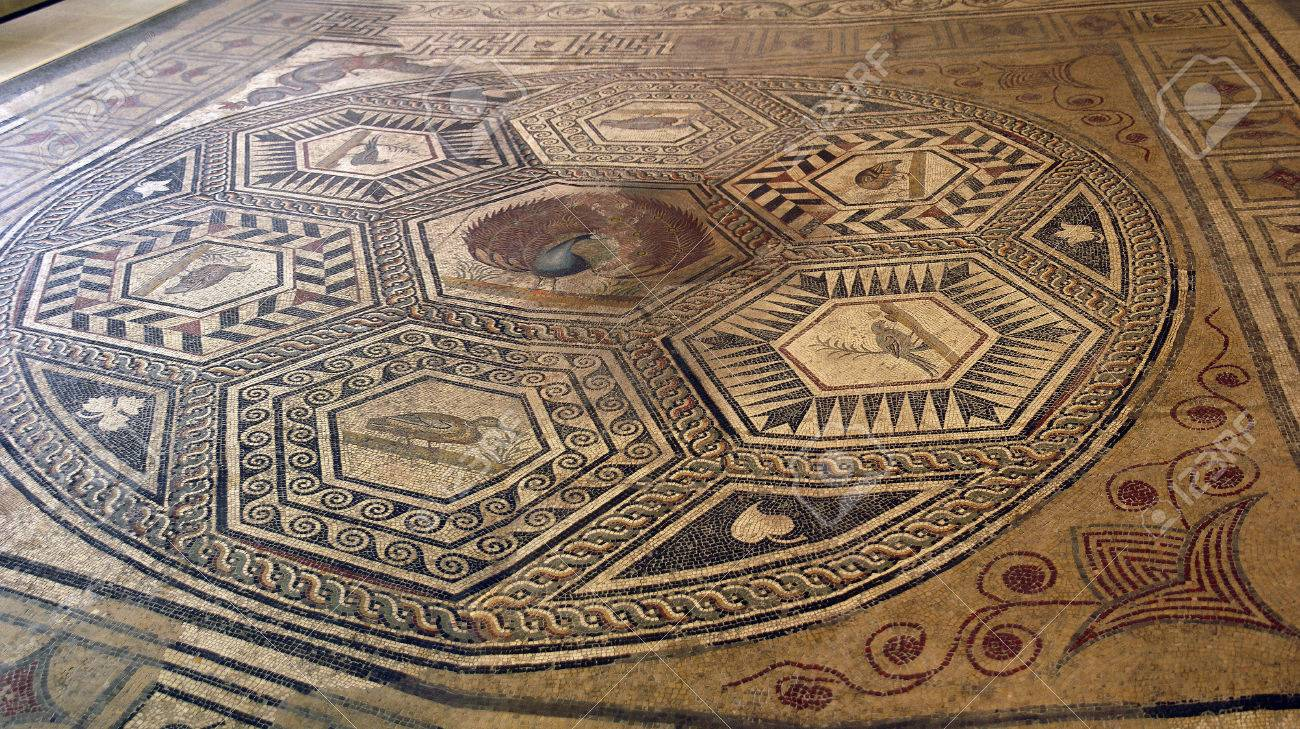 Mosaic tile floor in ancient romain villa of villasse roman ruins mosaic tile floor in ancient romain villa of villasse roman ruins vaison la romaine dailygadgetfo Image collections