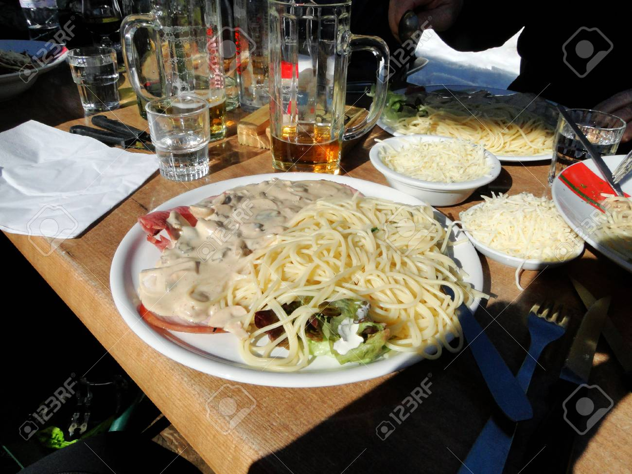 Pasta For Lunch At A Ski Area At The Tiny Village Of Les Lindarets