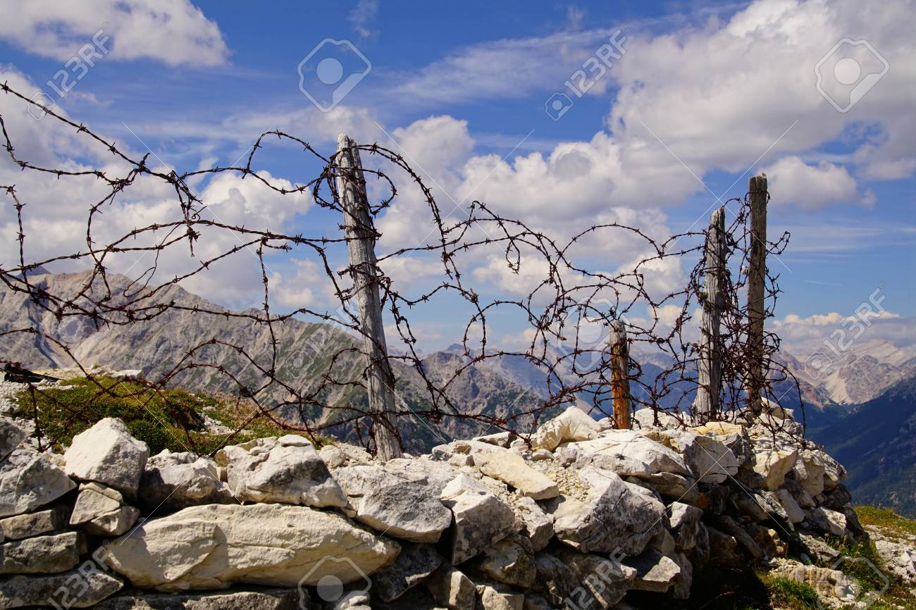 Trench Wire | Barbed Wire On Top Of Italian Trench From World War I Monte Stock